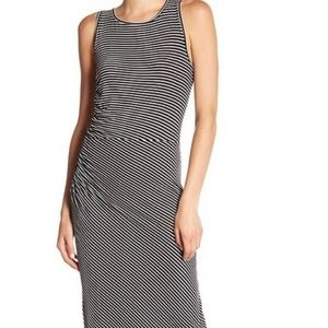 BOBEAU MAXI Black Striped Dress NWT